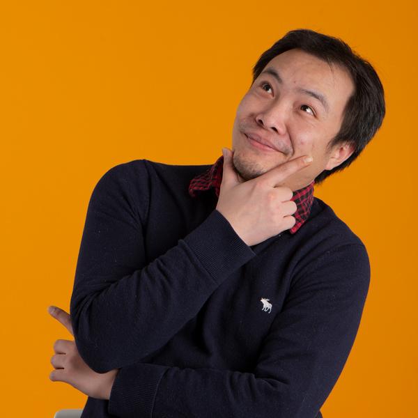 Fun photo of Max Lin thinking
