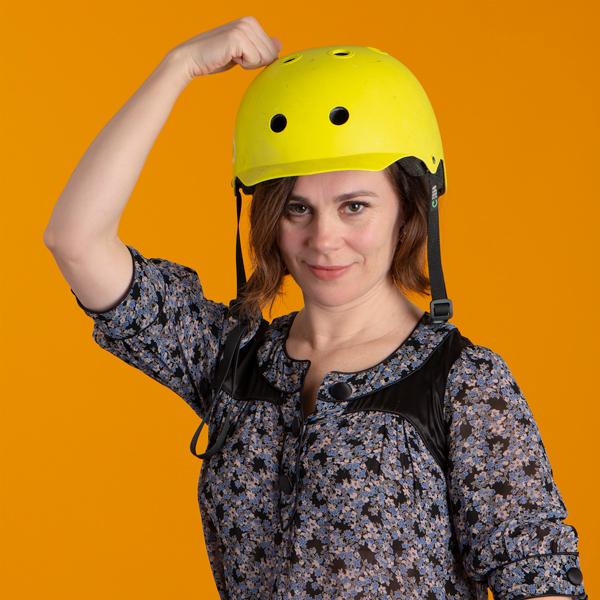 Melinda Deines Knocking on Biking Helmet