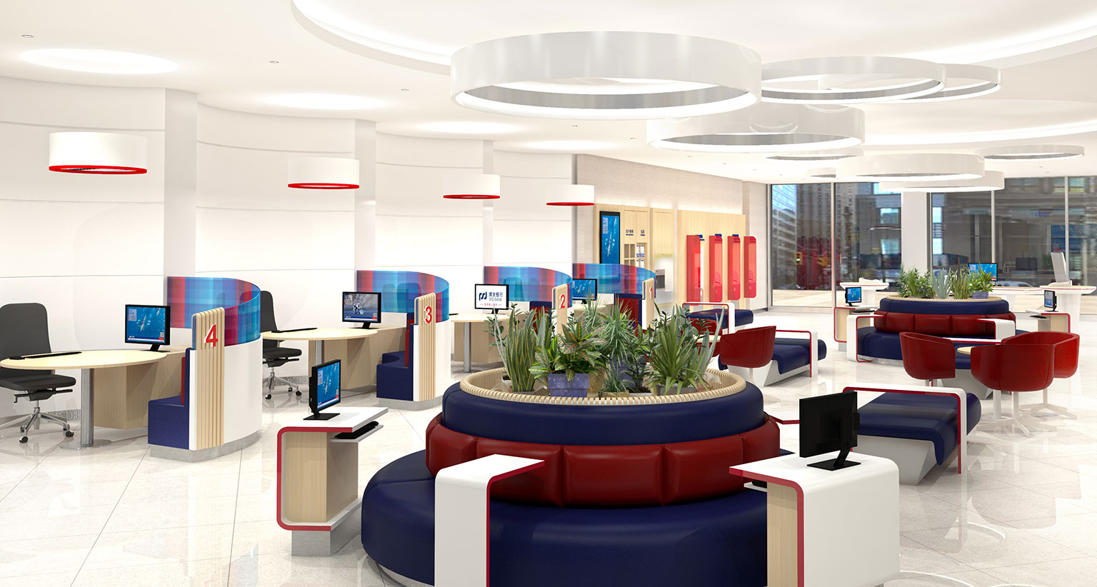 The final branch design creates a familiar welcoming feeling bolstered by the latest banking technology