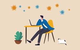 Animation of man on computer working from home