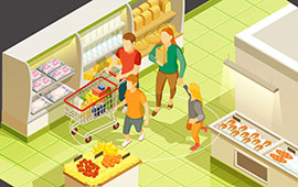 Family walking through grocery store and social distancing