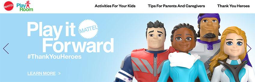 Screenshot of Mattel website