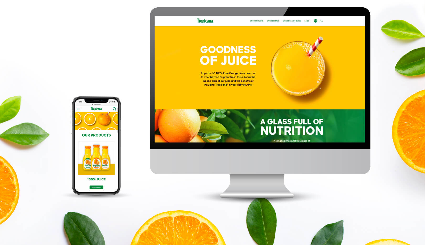 New Tropicana Website shown on computer desktop and mobile phone