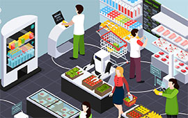 illustration of people shopping in a retail store during covid 19