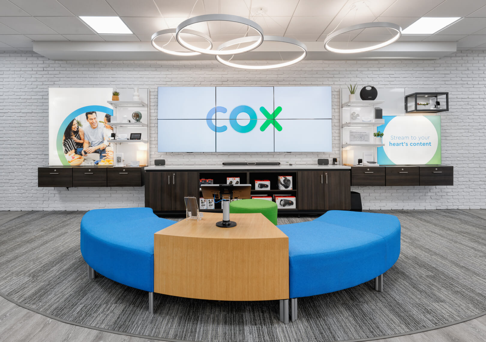 Cox Communications seating area with video wall