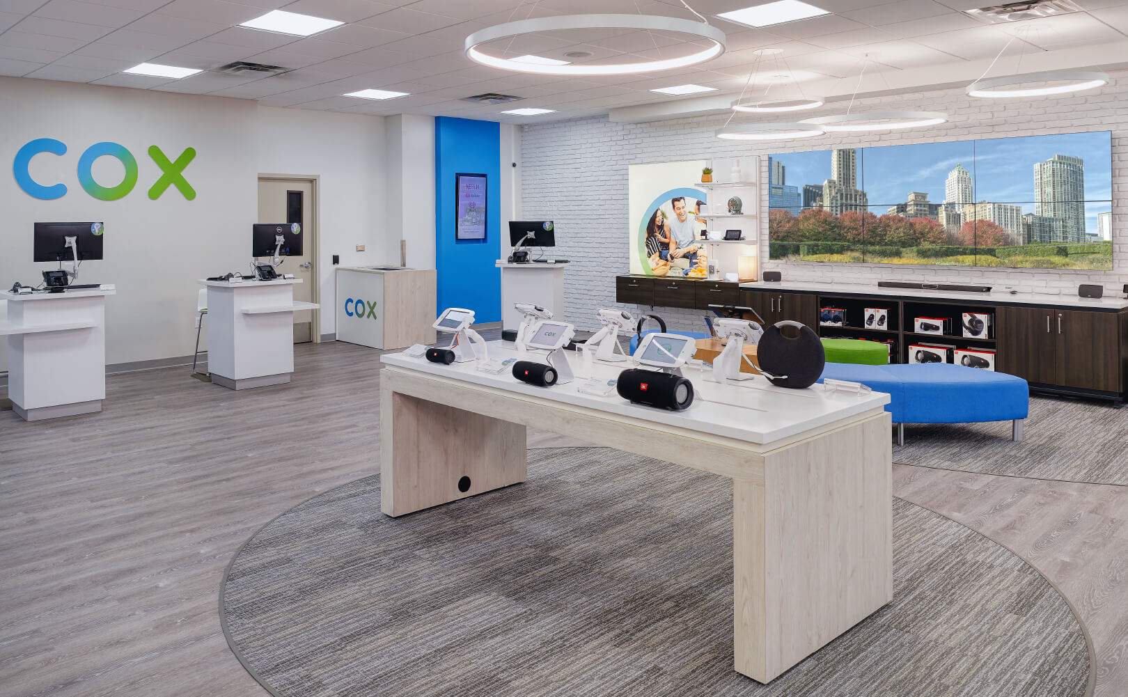 Cox Communications video wall wide retail view