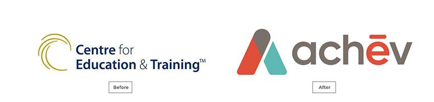 Old TCET logo vs. new Achēv logo